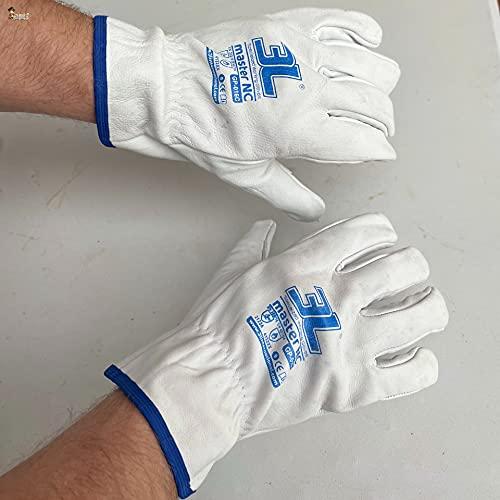 BricoLoco Guantes trabajo piel cuero vacuno. Talla 9. Par de guantes jardín, jardinería, construcción, conductor. Blanco ribete azul. CE CAT II. (Talla 9, 1)