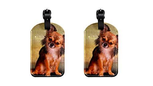 Gepäckanhänger aus PU-Leder mit Tieren, niedliches Hundemotiv, Namensschilder für Reisetasche, Gepäck, Koffer mit Sichtschutz auf der Rückseite, 2 Stück
