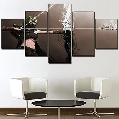 MOXIGE 5 Piezas Cuadro/Decoracion Salon/Lienzos Decorativos Salon/Cuadros Modernos Baratos Decorativos Modernos para Sala Póster de película de Figuras de Tiro con arco-150 x 80 cm