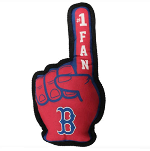 MLB Boston Red Sox RSX-3277MLB BOSTON RED SOX #1 FAN TOY. Best SPORTS Dog Toy with Double stitched trim & Tough Nylon material filled with Chewable Polyfil & INNER SQUEAKER, Red, 14 x 5 Inches