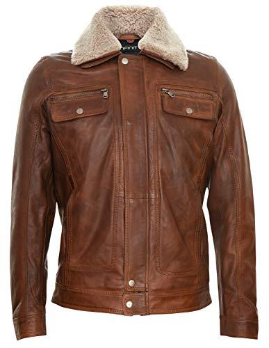 Infinity Leather Herren Lederjacke Bräunen Trucker Abnehmbarer Schaffell Sherpa Kragen Casual Jeans Mantel 3XL