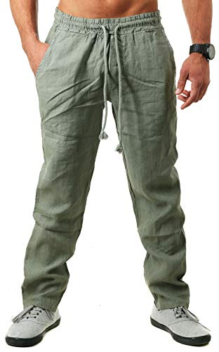 Young & Rich Herren Leinenhose Sommerhose 100% Leinen mit Kordelzug Straight Regular Fit S4103, Grösse:S, Farbe:Oliv