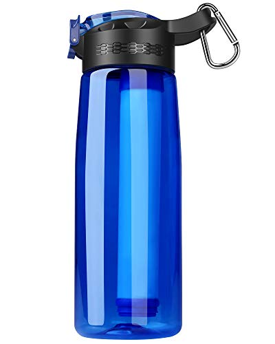 SimPure Filtered Water Bottle, Emergency Water Purifier with 4-Stage Integrated Filter Straw for...