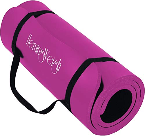 Yoga Mat Extra Thick Wide and Long; 1/4 Inch NBR Non Slip Exercise Mat for Indoor and Outdoor Use by HemingWeigh