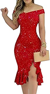 AmzBarley Women Off Shoulder Cocktail Dress Glitter Starry Sexy Bodycon Evening Party Ball Gown