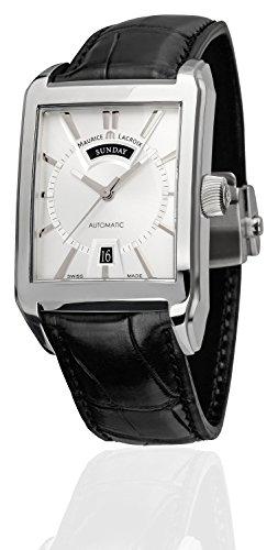 Maurice Lacroix Men's Pontos Automatic Black Crocodile Leather Silver-Tone Dial
