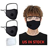 2PCS Fashion Face Protection, Reusable Unisex Adult Black Dustproof Mouth Protection, Washable Facial Protection with Filter Breathing Valve, Adjustable Earloop Face Shield (A)