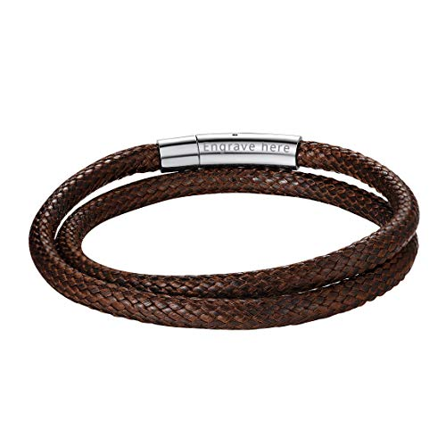 ChainsPro Name Bracelet Personalised Men Double Leather Bracelet Classic Leather Bracelet for Men Boy Boyfriend Dad