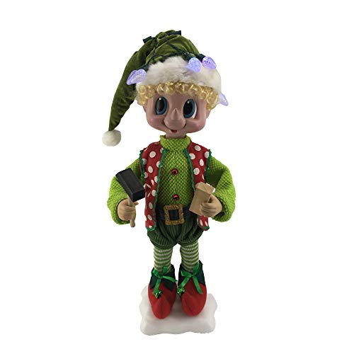 Price comparison product image Fraser Hill Farm 28-in. Elf Figurine with Hammer,  Block,  Lights,  Animation,  and Music (8 Songs) - Christmas Holiday Decoration,  FHFPLELF028-2GRN1