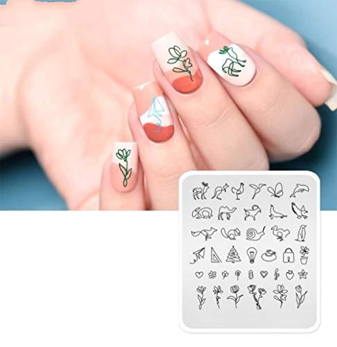 1Pc Nail Stamping Plate Einfache Linie Wal Eichhörnchen Blumenmuster Vorlage Nail Diy Design Schablone Maniküre Beauty Tools