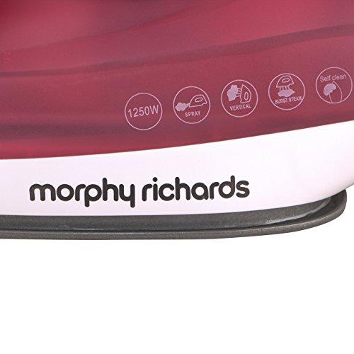 Morphy Richards Glide 1250-Watt Steam Iron (White/Red)