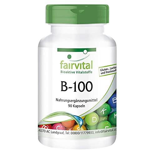 Complejo B - B-100 - Complejo de vitaminas B + Colina e inositol - VEGANO - Dosis alta - 90 Cápsulas - Calidad Alemana
