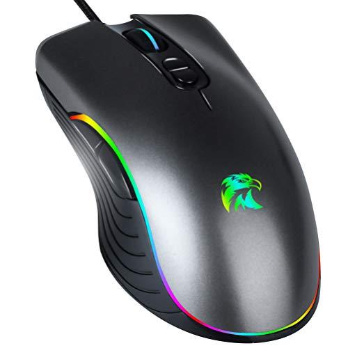 Ratón de juego RGB, ratón retroiluminado, cable de 6400 DPI, ergonómico para...