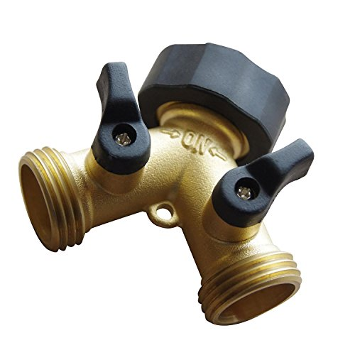 OUT Hose Faucets,Hose Valve,Flexible Hose Connector,Garden Hose Splitter,Heavy Duty Brass Y 2 Way Solid Valve Garden Hose Connector with Comfort Grip