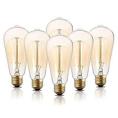 HESSION ST64 E27 Base 40w 110v Dimmable Vintage Edison Light Bulb Antique Squirrel Cage Filament Incandescent Bulbs for Home Light Fixtures Decorative Glass(6 Pack)