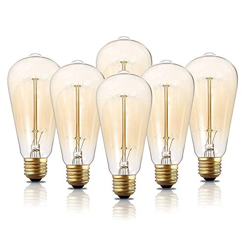Edison Light Bulbs, 6-Pack 40w Vintage Edison Bulb, Squirrel Cage Filament Edison Bulbs, E26 Base - Amber Tinted - 110V - Dimmable - ST64 Decorative Lightbulbs