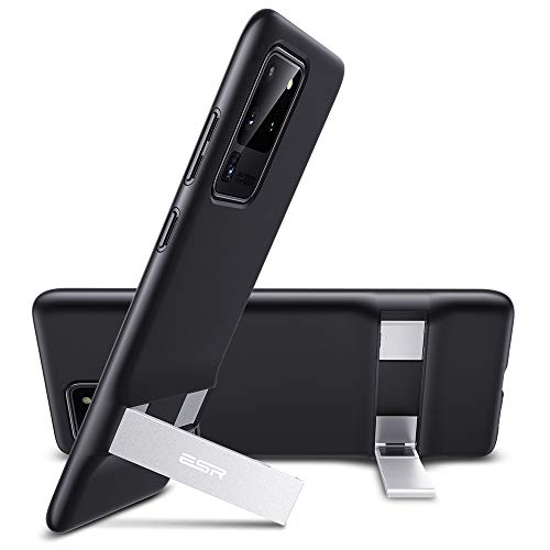 ESR Funda Metal Kickstand para Samsung S20 Ultra/S20 Ultra 5G [Soporte Vertical y Horizontal][Protección Reforzada contra Caídas] Funda TPU Flexible para Samsung Galaxy S20 Ultra Negro