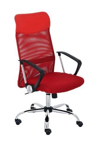 CLP Silla de oficina Washington V2, altura regulable con función basculante, silla de escritorio con funda de malla, cruz giratoria de metal estable, color rojo