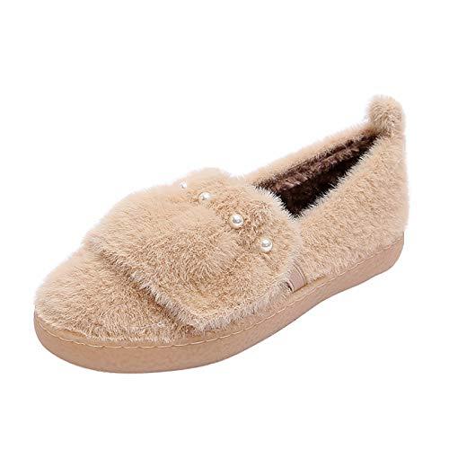 UELEGANS Mujer Invierno Zapatillas De Estar Casa Interior Cerradas Calienta con Comodidad Antideslizantes Pantufla,Apricot,40