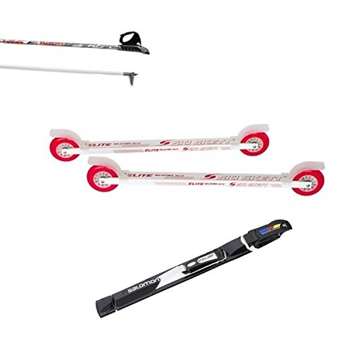 Ski Skett Série Ski Roue, Ski Roue Elite Skate ALU PE, Fixations Salomon Pilot SK, bâtons pour Ski Roue Long. 165 cm.