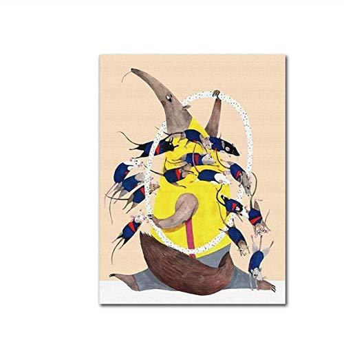 oso hormiguero y ratones dibujos animados nórdicos lienzo abstracto niños habitación arte de la pared póster y lienzos - 50x70cm sin marco