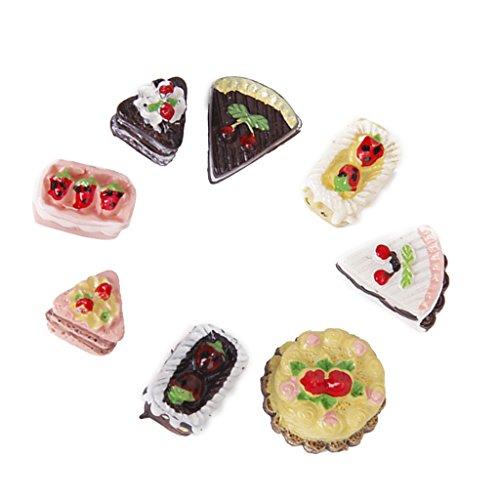8 Stück Sortiert Geschmack von Schokolade Erdbeere Kirsche Kuchen Miniatur Puppenhaus