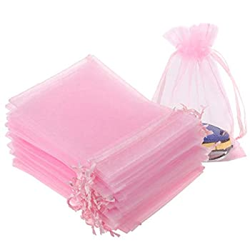 XVbond 100PCS Sheer Drawstring Organza Gift Bags 3.6 x4.8 Peach Transparent Jewelry Lipstick Pouches Baby Shower Party Wedding Favor Holidays Cookies Candy Gift Bags  Pink