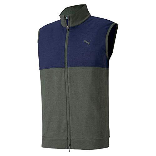PUMA Golf 2020 Men's Cloudspun Warm Up Vest, Thyme-Peacoat, Large