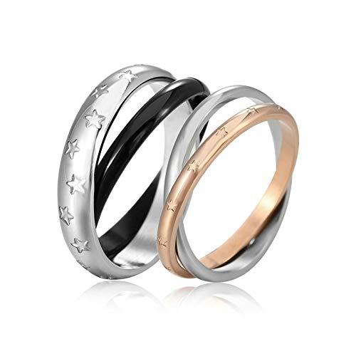 AnazoZ roestvrij staal zijn en haar bijpassende set zwart en Rose gouden ster trouwring band