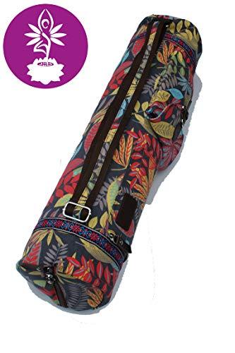 Yogatasche aus Baumwolle extra Groß für Yogamatte, Yogazubehör Gym Tasche Rucksack Tragetasche Fitness - Pilates - Yoga (Rot)