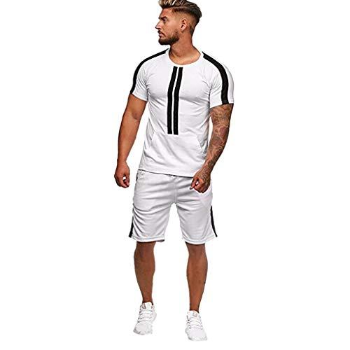 Chándal de los hombres de 2 piezas conjuntos atléticos deportes top gimnasio camiseta fitness ropa ocio raya color manga corta pantalones cortos