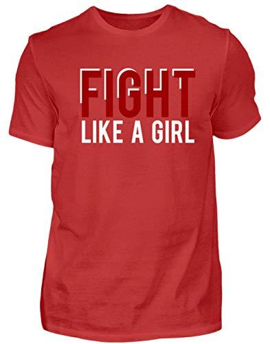 Fight Like A Girl - Camiseta para Hombre, diseño de Mujer luchando como una Mujer Rojo XL