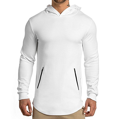 Men's Gym Workout Long Sleeve Hoodies Training Sports Pullover Casual Hooded Sweatshirts with Zipper Pockets WHITE S tag L