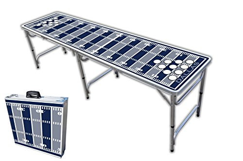 8-Foot Professional Beer Pong Table w/Holes - Dallas Football Field Graphic