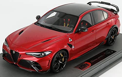 Alfa Romeo Giulia GTAM Rosso GTA Red w/Carbon Top & Carbon Accents & Display CASE Limited Edition to 390 Pieces Worldwide 1/18 Model Car by BBR C1852