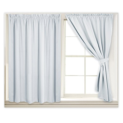 RYB HOME Portable Wall Curtain Set, Adjustable Width Privacy Shades Hang with Sticky Strap, Room Darkening Drapes for No Curtain Rod Window with Free Tiebacks, 40 x 45 inch, Grayish White, 2 Pcs