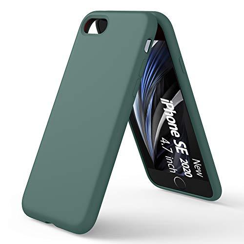 ORNARTO Custodia in Silicone Liquido per iPhone SE(2020), iPhone 7 8 Protezione Completa Cover Sottile in Silicone Liquido in Gomma Gel Morbida per iPhone 7 8  SE(2020) 4,7 Pollici-Verde Pineta