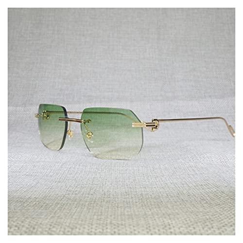 WIYP Vintage sin Montura Cuadrada Gafas de Sol para Hombres Forma de Lentes de diámetro de Metal de Forma de Lentes para Leer Mujeres al Aire Libre 1130 (Lenses Color : Gold Frame Green)