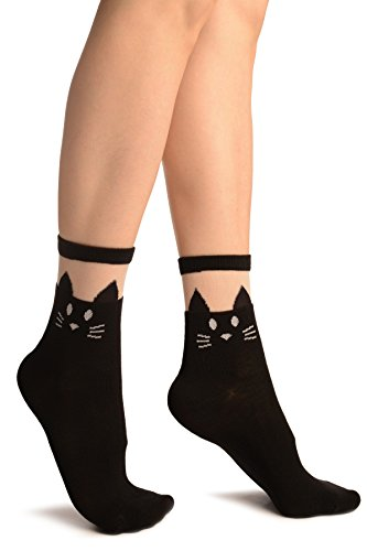 LissKiss Black With Cat Face Invisible Top Ankle High Socks - Schwarz Socken, Einheitsgroesse (37-42)