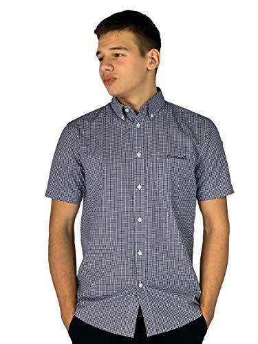 Pierre Cardin Hombre Camisa de Manga Corta Estampado Cuadros o Geométrico con Bordado de Firma (4XL, Navy/White/Gingham)