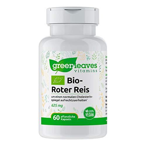 Greenleaves Vitamins - Bio-Roter Reis 60 pflanzliche Kapseln 625mg. Ohne Gentechnik, Gluten, Milchzucker. 100% Vegan