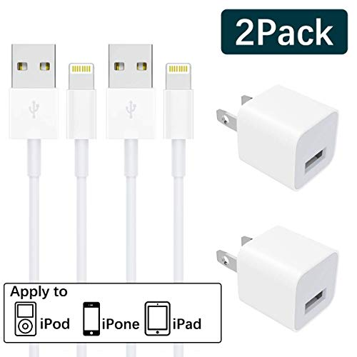 iPhone Charger, MFi Certified Charging Lightning Cable and Plug Block Compatible with iPhone X/8/8 Plus/7/7 Plus/6/6S/6 Plus/5S/SE/Mini/Air/Max.