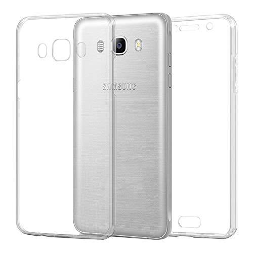 TBOC Funda para Samsung Galaxy J5 (2016) J510 - Carcasa [Transparente] Completa [Silicona TPU] Doble Cara [360 Grados] Protección Integral Total Delantera Trasera Lateral Móvil Resistente Golpes