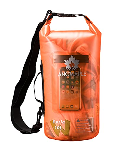 Ancmaple Waterproof Dry Bag,10L/15L,Translucent Frosted Storage Dry Bag with Independent Phone Inner Bag.Equipped with a Set of Side Handle and Single-Shoulder Strap.for All Kinds of Water Activities