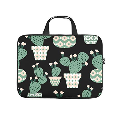 Green Plant Flowers Cactus Printed Laptop Bag Protective Case Waterproof Neoprene Laptop Bag Case Stylish Notebook Bag Bag with Handle