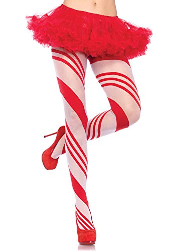 Leg Avenue Women's Christmas Holiday Spandex Tights, Red/White Candy, One Size
