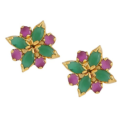 Hikaro Indian Bollywood Designer 18 k Gold Plated Traditional CZ Stud Earrings Jewelry for Women and Girls, Multicolor