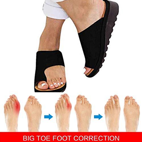 2020 Nuevas Mujeres Cómodas Sandalias Corrector de Juanetes Ortopédico para Mujeres Zapatos Ortopédicos Corrección Zapatillas de Plataforma Plana Verano para Mujer Dedo Gordo Corrector ,Negro,40EU