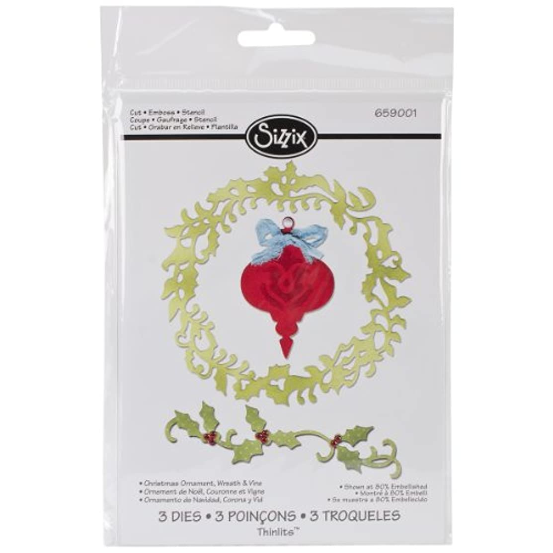Sizzix 659001 Christmas Ornament/Wreath Thinlits Dies