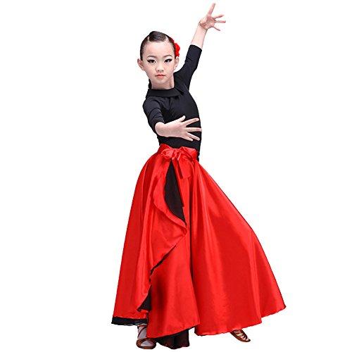 LOLANTA Spanischer Flamenco-Tanzrock für Mädchen aus rotem Satin-Zigeunerkleid